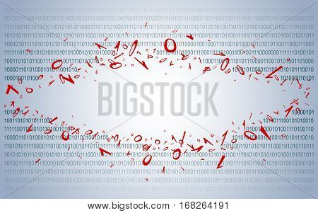 Breakthrough into binary code on dark blue. Background. Illustration. Vector EPS-10.
