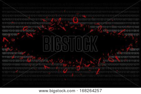 Breakthrough into binary code on black. Background. Illustration. Vector EPS-10.