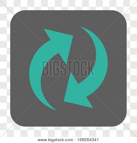 Refresh interface toolbar button. Vector icon style is a flat symbol on a rounded square button cyan and gray colors chess transparent background.