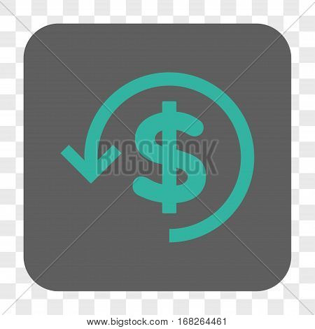 Refund interface toolbar button. Vector icon style is a flat symbol on a rounded square button cyan and gray colors chess transparent background.