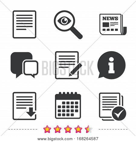 File document icons. Download file symbol. Edit content with pencil sign. Select file with checkbox. Newspaper, information and calendar icons. Investigate magnifier, chat symbol. Vector