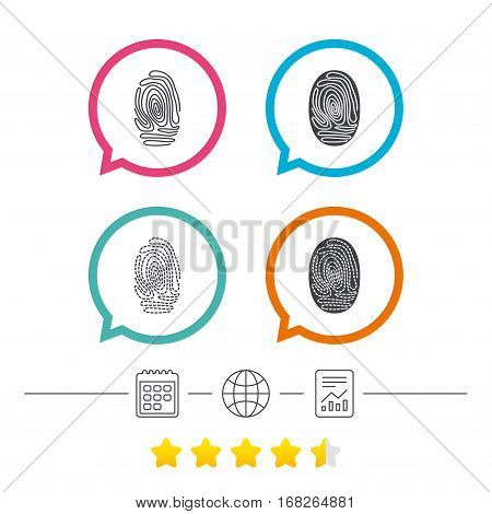 Fingerprint icons. Identification or authentication symbols. Biometric human dabs signs. Calendar, internet globe and report linear icons. Star vote ranking. Vector