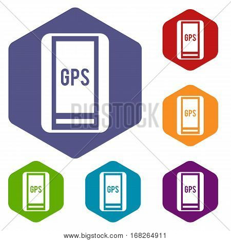 Global Positioning System icons set rhombus in different colors isolated on white background