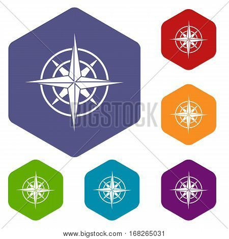 Ancient compass icons set rhombus in different colors isolated on white background