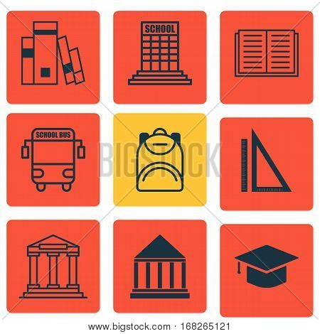 Set Of 9 Education Icons. Includes Haversack, Graduation, Academy And Other Symbols. Beautiful Design Elements.