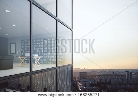 Contemporary glass building exterior and see through office interior on modern downtown city background. 3D Rendering
