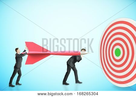 Two businessman aiming at dartboard on blue background. Targeting concept. 3D Rendering