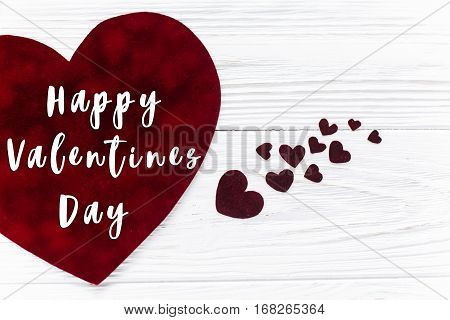 Happy Valentines Day Text Sign.stylish Velvet Hearts On White Wooden Background. Happy Valentines Da