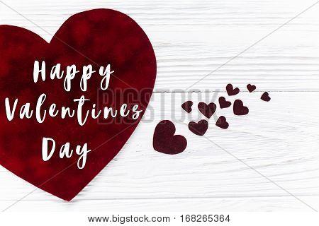 Happy Valentines Day Text Sign.stylish Velvet Hearts On White Wooden Background. Happy Valentines Da