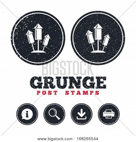Grunge post stamps. Fireworks rockets sign icon. Explosive pyrotechnic device symbol. Information, download and printer signs. Aged texture web buttons. Vector