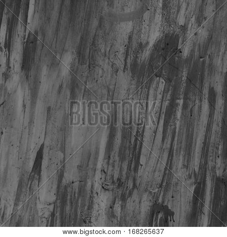 Grunge texture. Messy paint strokes. Square background. Black and white photo.