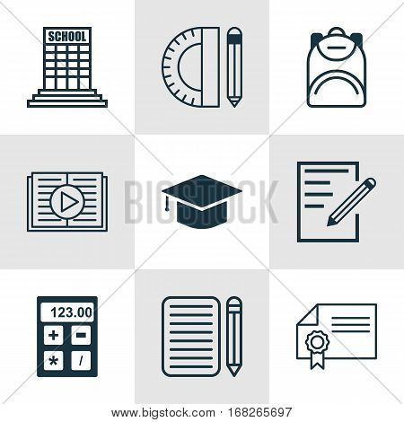 Set Of 9 School Icons. Includes Education Tools, Taped Book, Haversack And Other Symbols. Beautiful Design Elements.