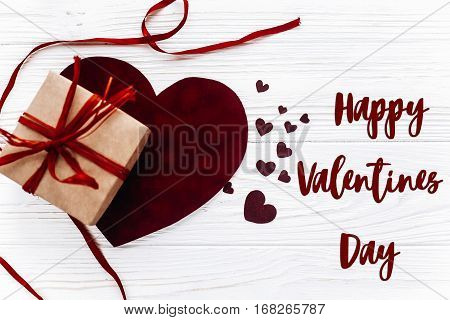 Happy Valentines Day Text Sign.valentine Concept Flat Lay. Stylish Present Box And Velvet Hearts On