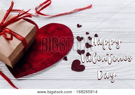 Happy Valentines Day Text Sign.happy Valentine Day Concept. Stylish Present And Velvet Hearts With R