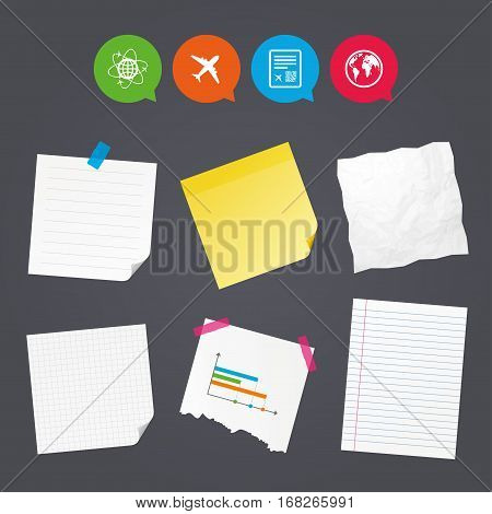 Business paper banners with notes. Airplane icons. World globe symbol. Boarding pass flight sign. Airport ticket with QR code. Sticky colorful tape. Speech bubbles with icons. Vector