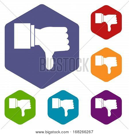 Thumb down gesture icons set rhombus in different colors isolated on white background