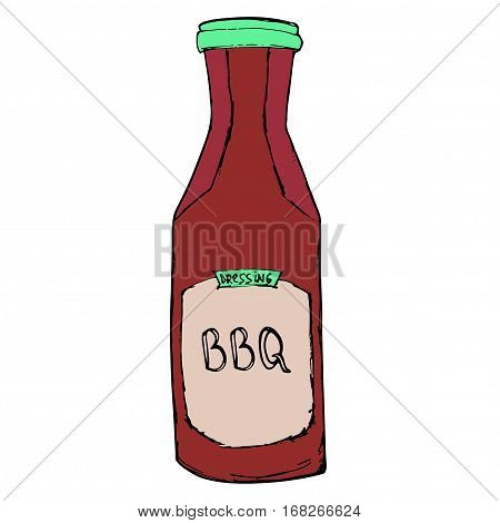 BBQ sauce bottle. Hand drawn barbeque dressing. Vector sketch.
