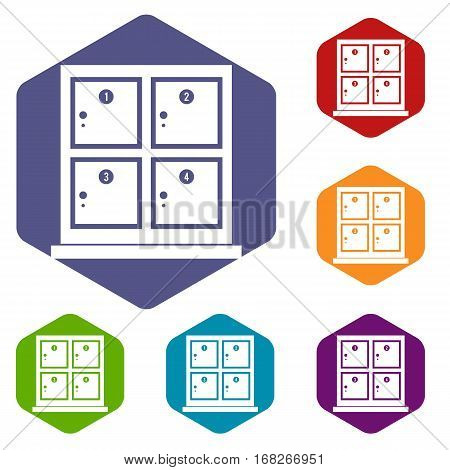 Cells for storage in the supermarket icons set rhombus in different colors isolated on white background