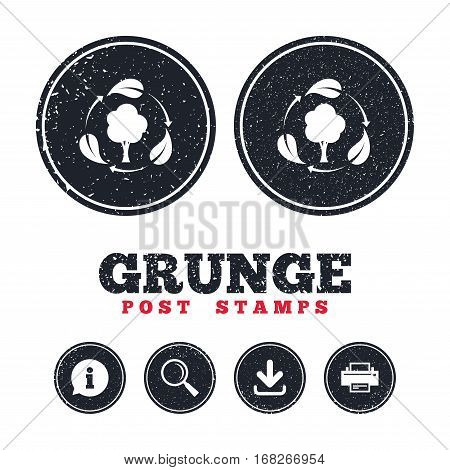 Grunge post stamps. Fresh air sign icon. Forest tree with leaves symbol. Information, download and printer signs. Aged texture web buttons. Vector