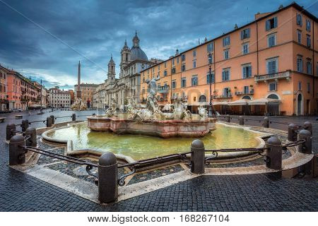 Rome. Cityscape image of Novona Square, Rome with Fountain of Neptune during rainy morning.