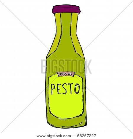 Pesto jar. Hand drawn sketch illustration. Pesto bottle Isolated on white.