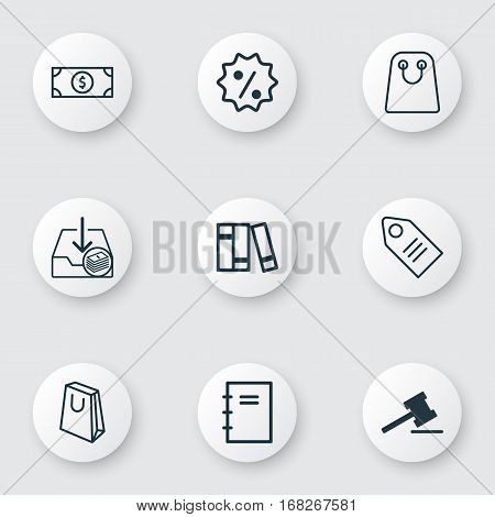 Set Of 9 E-Commerce Icons. Includes Buck, Withdraw Money, Bookshelf And Other Symbols. Beautiful Design Elements.