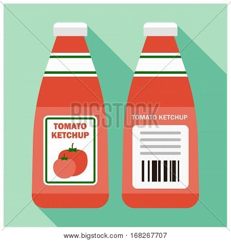 Tomato ketchup bottle - color vector icon illustration