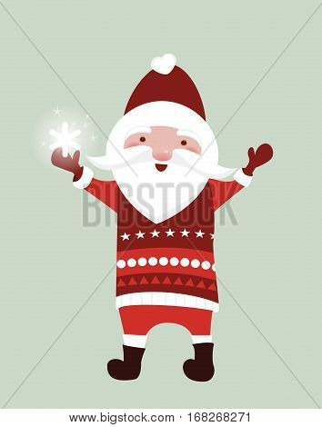 Santa Claus with a snowflake - the christmas color illustration