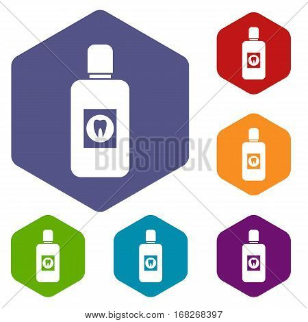 Bottle of green mouthwash icons set rhombus in different colors isolated on white background