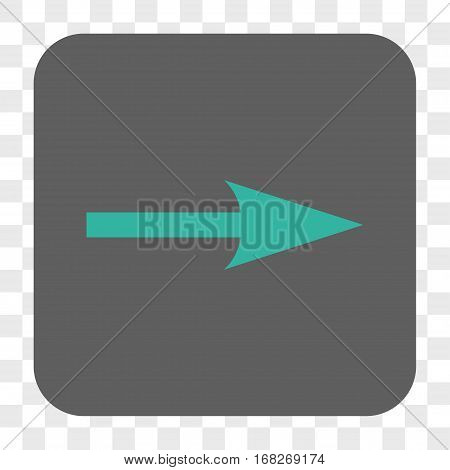 Sharp Arrow Right interface toolbar button. Vector icon style is a flat symbol on a rounded square button cyan and gray colors chess transparent background.