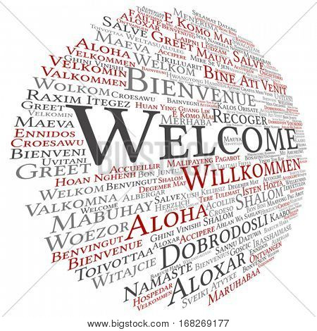 Vector concept conceptual abstract welcome or greeting international word cloud in different languages multilingual isolated metaphor to world, foreign, worldwide, travel, translate, vacation tourism