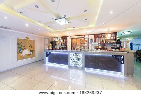 MOSCOW - AUGUST 2014: Interior of Chinese cuisine restaurant
