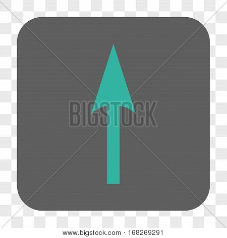 Sharp Arrow Up interface toolbar button. Vector icon style is a flat symbol in a rounded square button cyan and gray colors chess transparent background.