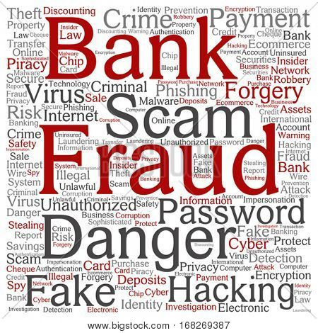 Vector concept or conceptual bank fraud payment scam danger square word cloud isolated on background metaphor to password hacking, virus fake authentication crime, illegal transaction identity theft
