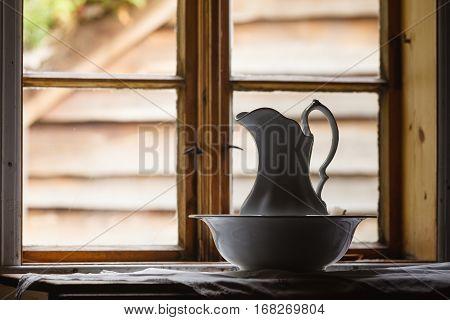 Old Vintage Window, Ceramic Jug In Foreground