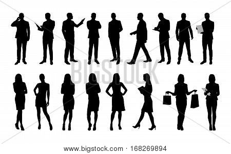 Business people large set of vector silhouettes of men and women. Workers in suit or clothes