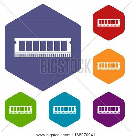DVD RAM module for the personal computer icons set rhombus in different colors isolated on white background
