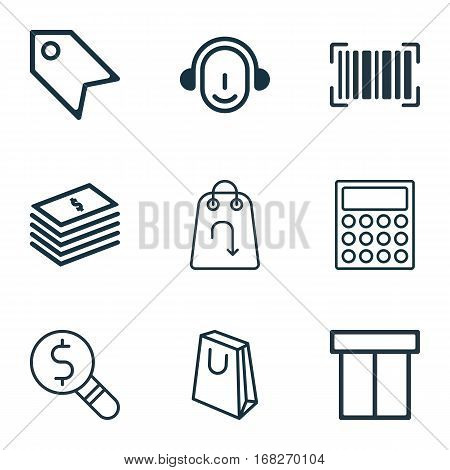 Set Of 9 Ecommerce Icons. Includes Calculator, Handbag, Price Stamp Symbols. Beautiful Design Elements.