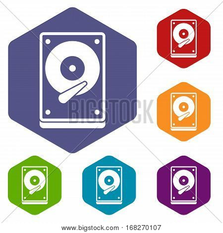 HDD icons set rhombus in different colors isolated on white background