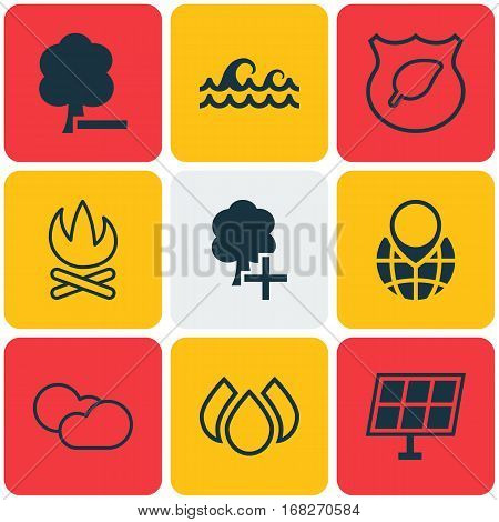 Set Of 9 Ecology Icons. Includes Insert Woods, Delete Woods, Ocean Wave And Other Symbols. Beautiful Design Elements.