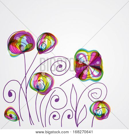 Abstract floral background for your design. Bright decor with abstract flowers and leaves. Wedding card, wallpapers, sticker, wall decal or wrapping paper version