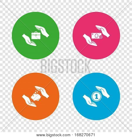 Hands insurance icons. Piggy bank moneybox symbol. Money savings insurance signs. Travel luggage and cash coin symbols. Round buttons on transparent background. Vector