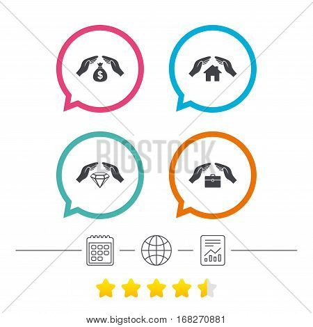 Hands insurance icons. Money bag savings insurance symbols. Jewelry diamond symbol. House property insurance sign. Calendar, internet globe and report linear icons. Star vote ranking. Vector