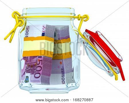 Open glass jar with bundles of euro. Open glass jar for canning with bundles of european currency. Financial concept. Isolated. 3D Illustration