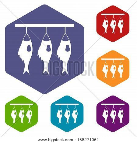 Three dried fish hanging on a rope icons set rhombus in different colors isolated on white background
