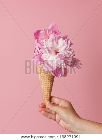peony in the waffle cone