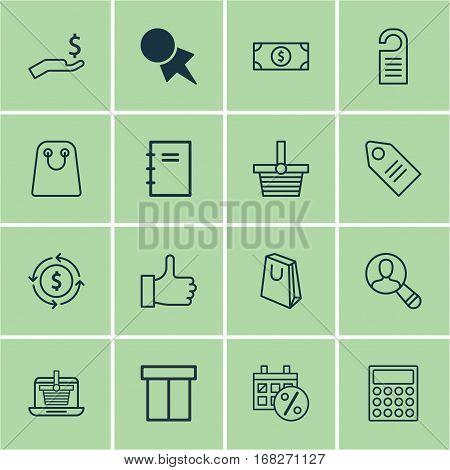 Set Of 16 E-Commerce Icons. Includes Calculator, Finance, Handbag Symbols. Beautiful Design Elements.