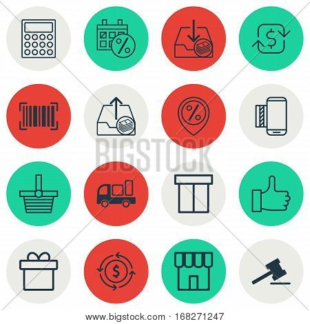 Set Of 16 Ecommerce Icons. Includes Present, Gavel, Recurring Payements And Other Symbols. Beautiful Design Elements.