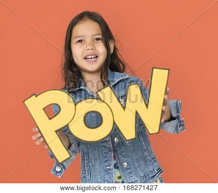 Little Girl Holding Papercraft Pow