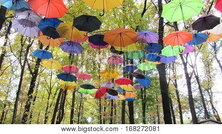 Varicoloured umbrellas swim in autumn blue sky - orange, scarlet, green.